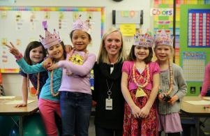 Kindergartners celebrating 100th Day of School